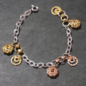Silver and Gold Stars and Moon Charm Bracelet